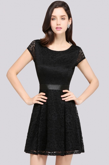 Black Lace Short Sleeves Junior Bridesmaid Dresses
