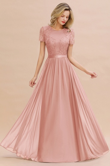 Elegant Chiffon Lace Jewel Short-Sleeves Affordable Bridesmaid Dress_50