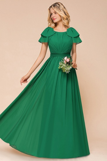 Emerald Short Sleeves Chiffon Ruffles Long Bridesmaid Dresses Online_4