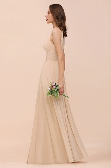 Elegant Chiffon Jewel Ruffle Champagne Affordable Bridesmaid Dress Online_57