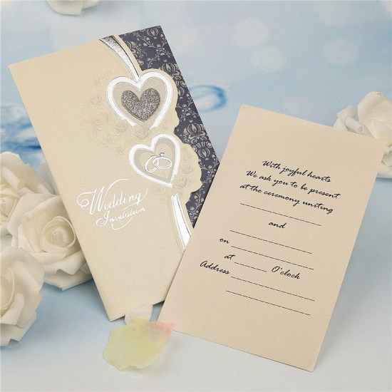 Elegant Tri-Fold Heart Style Invitation Cards (Set of 50)_3