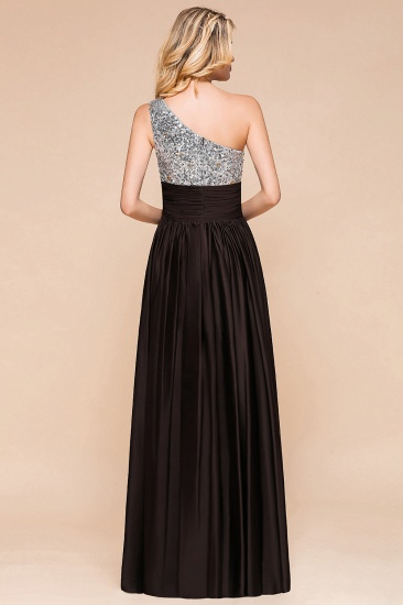 Affordable One Shoulder Sequins Long Bridesmaid Dresses with Ruffle_3