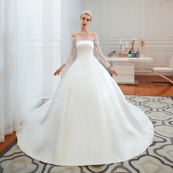 BMbridal Long Sleeve Off-the-Shoulder Satin Wedding Dress With Lace_1