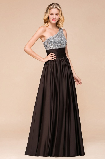 Affordable One Shoulder Sequins Long Bridesmaid Dresses with Ruffle_8
