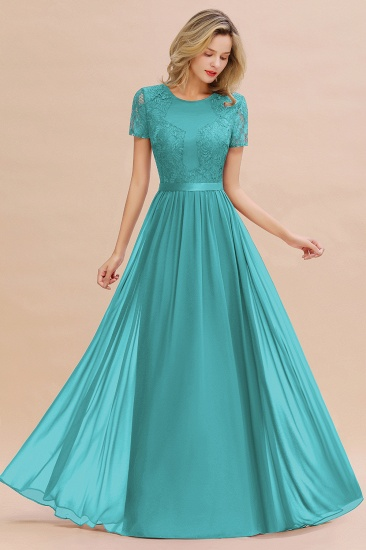 Elegant Chiffon Lace Jewel Short-Sleeves Affordable Bridesmaid Dress_32