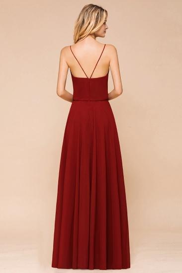 BMbridal Rust Spaghetti-Starps Long Chiffon Bridesmaid Dresses Online_3