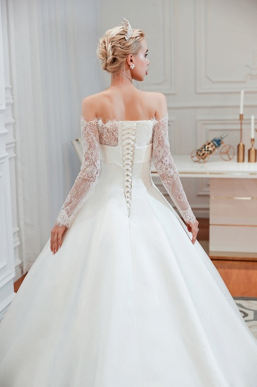 BMbridal Long Sleeve Off-the-Shoulder Satin Wedding Dress With Lace_10
