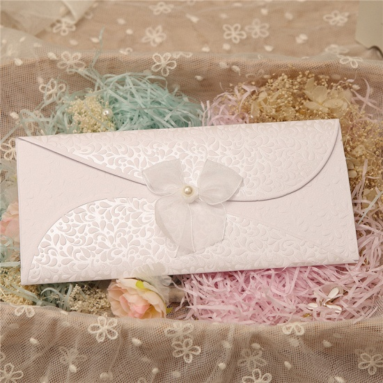 BMbridal Classic Tri-Fold Invitation Cards Pearl Bowknot Style (Set of 50)_3