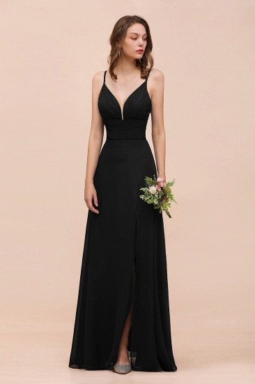 BMbridal Deep V Neck Spaghetti Straps Slit Long Black Bridesmaid Dress_9