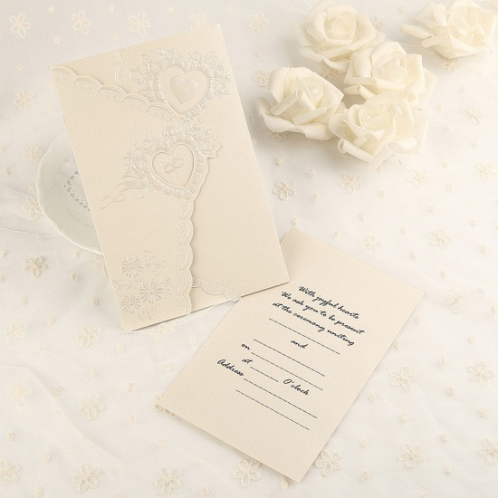 Elegant Tri-Fold Invitation Cards Heart Style (Set of 50)_6