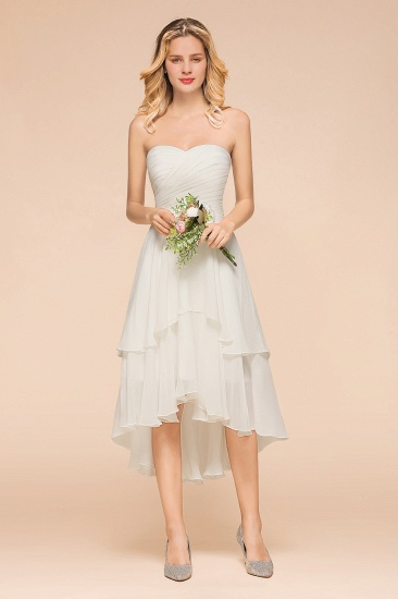 Affordable Hi-Lo Layer Ruffle Ivory Short Bridesmaid Dress with Flower_5