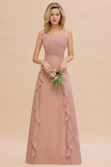 BMbridal Chiffon Long Sleeveless Bridesmaid Dress with Cascading Ruffles_1