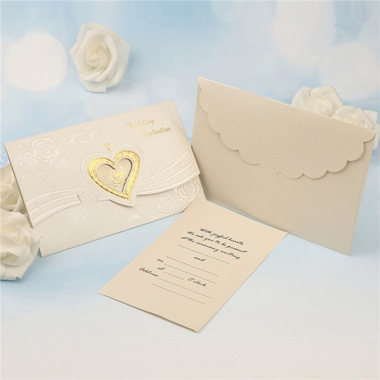 Classic Tri-Fold Hollow Heart Style Invitation Cards (Set of 50)_2
