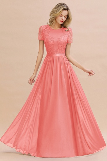 Elegant Chiffon Lace Jewel Short-Sleeves Affordable Bridesmaid Dress_7