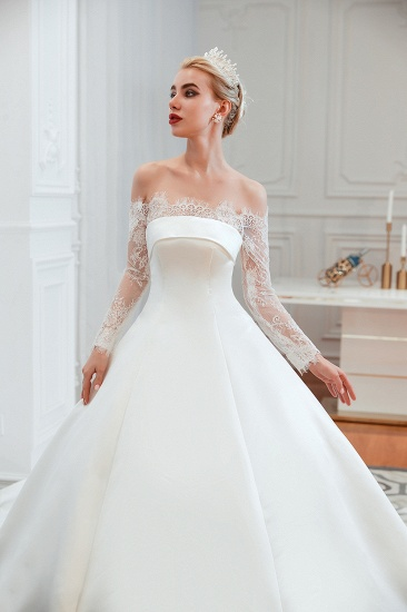 BMbridal Long Sleeve Off-the-Shoulder Satin Wedding Dress With Lace_12