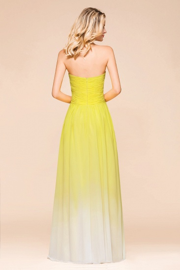 Fashionable Sweetheart Ruffle Yellow Ombre Bridesmaid Dress_3
