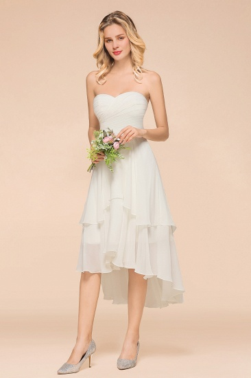Affordable Hi-Lo Layer Ruffle Ivory Short Bridesmaid Dress with Flower_7