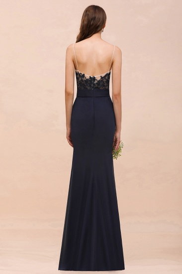 Chic Mermaid Chiffon Lace Cheap Bridesmaid Dress with Spaghetti Straps_3