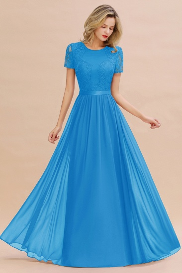 Elegant Chiffon Lace Jewel Short-Sleeves Affordable Bridesmaid Dress_25
