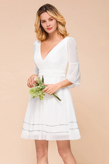 Chic V-Neck 3/4 Sleeves Short White Bridesmaid Dress with Sequins_8