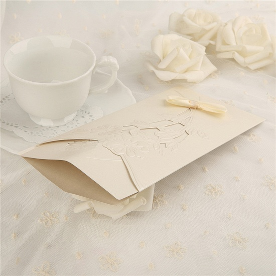 Classic Side-Fold Hollow Bowknot Imprint Invitation Cards (Set of 50)_6