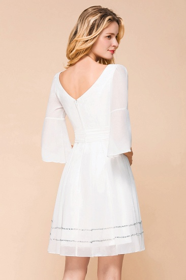 Chic V-Neck 3/4 Sleeves Short White Bridesmaid Dress with Sequins_9
