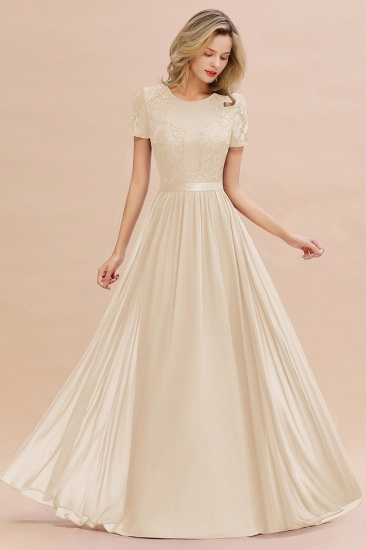 Elegant Chiffon Lace Jewel Short-Sleeves Affordable Bridesmaid Dress_14