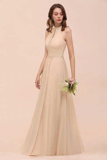 Elegant Chiffon Jewel Ruffle Champagne Affordable Bridesmaid Dress Online_56