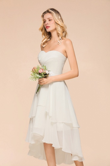 Affordable Hi-Lo Layer Ruffle Ivory Short Bridesmaid Dress with Flower_6
