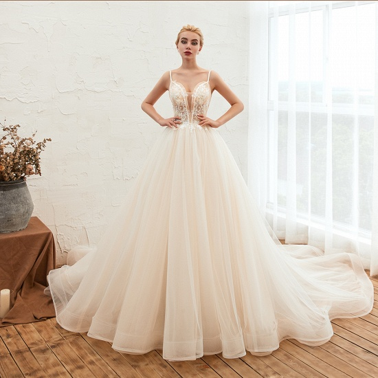 BMbridal Elegant Spaghetti-Starps Tulle Wedding Dress With Appliques_3