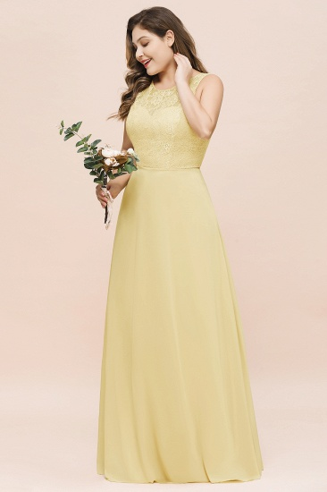 Plus Size Lace Sleeveless Affordable Daffodil Bridesmaid Dress_5