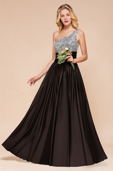 Affordable One Shoulder Sequins Long Bridesmaid Dresses with Ruffle_4