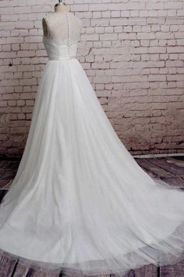 BMbridal Illusion Lace Tulle Chapel Train Wedding Dress Online_3
