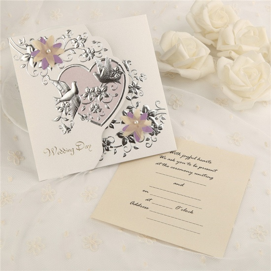 Modern Tri-Fold Heart Style Invitation Cards (Set of 50)_3