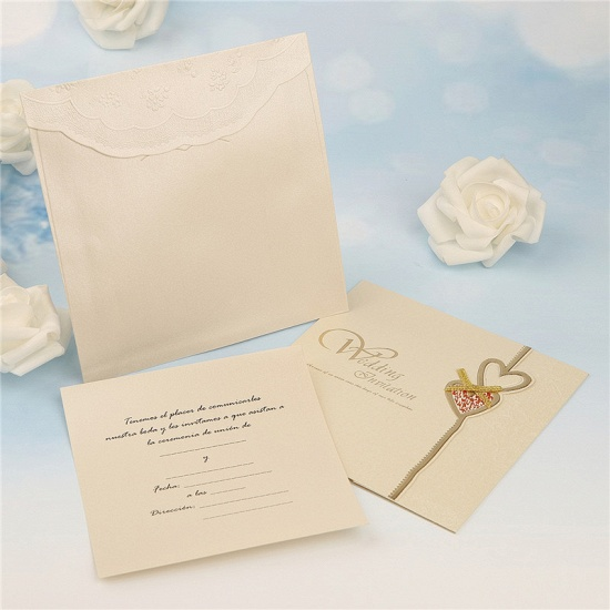 BMbridal Modern Tri-Fold Heart Bowknot Invitation Cards (Set of 50)_2