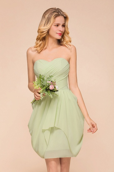 BMbridal Chic Chiffon Sweetheart Short Bridesmaid Dresses with Ruffle_1