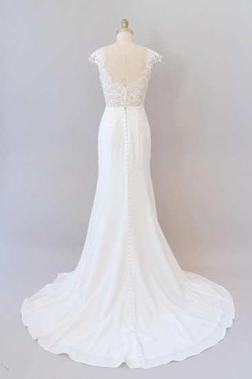 BMbridal Cap Sleeve Illusion Lace Sheath Wedding Dress On Sale_3