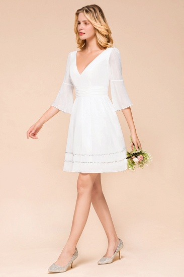 Chic V-Neck 3/4 Sleeves Short White Bridesmaid Dress with Sequins_5