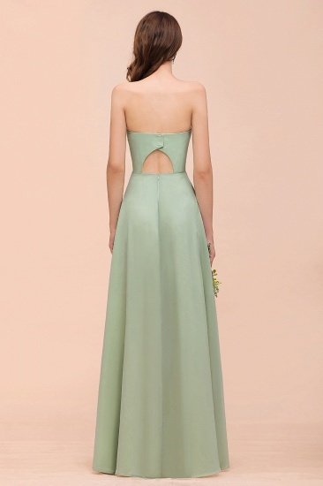 Affordable Strapless Front Slit Long Dusty Sage Bridesmaid Dress_3