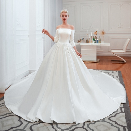 BMbridal Elegant 3/4 Sleeves Princess Satin Wedding Dress Online_4