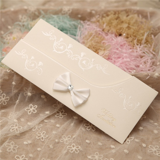 Modern Side-Fold Crystal Bowknot Style Invitation Cards (Set of 50)_4