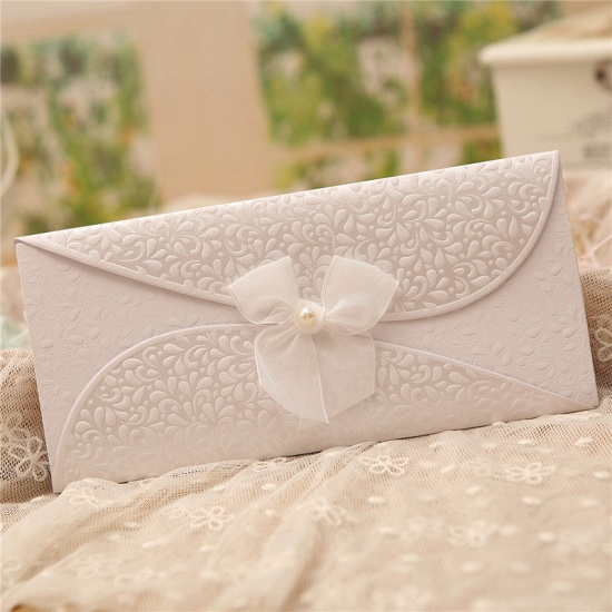 BMbridal Classic Tri-Fold Invitation Cards Pearl Bowknot Style (Set of 50)_6