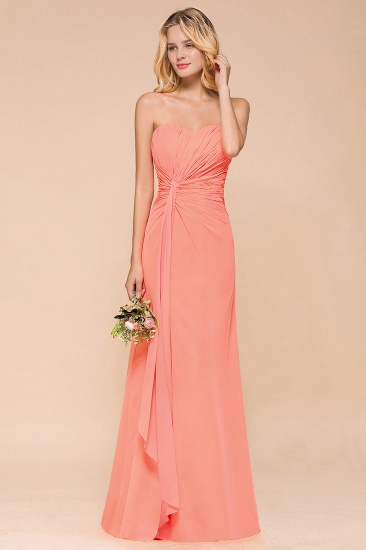 Stylish Sweetheart Ruffle Affordable Coral Chiffon Bridesmaid Dresses Online_7