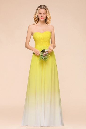 Fashionable Sweetheart Ruffle Yellow Ombre Bridesmaid Dress