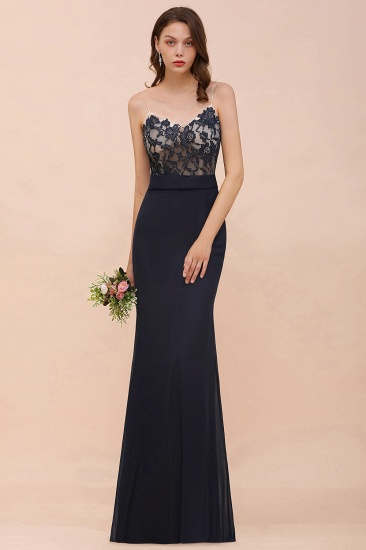 Chic Mermaid Chiffon Lace Cheap Bridesmaid Dress with Spaghetti Straps_7