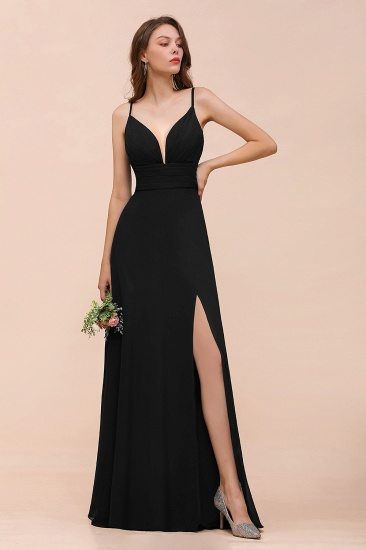 BMbridal Deep V Neck Spaghetti Straps Slit Long Black Bridesmaid Dress_4