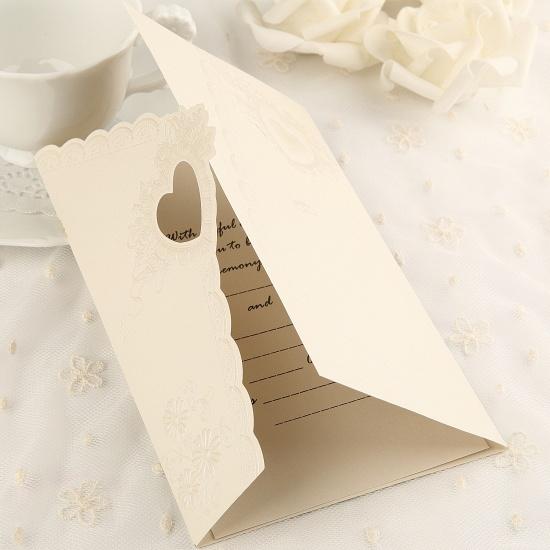Elegant Tri-Fold Invitation Cards Heart Style (Set of 50)_2