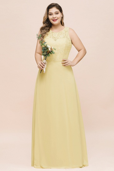 Plus Size Lace Sleeveless Affordable Daffodil Bridesmaid Dress_1