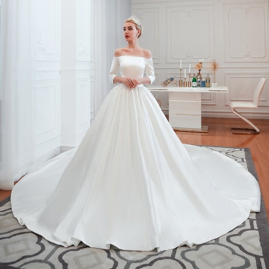 BMbridal Elegant 3/4 Sleeves Princess Satin Wedding Dress Online_1