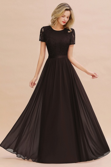 Elegant Chiffon Lace Jewel Short-Sleeves Affordable Bridesmaid Dress_11